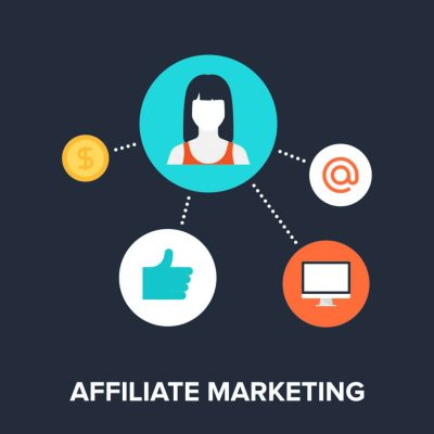 Abstract Flat Vector Illustration Of Affiliate Marketing as a way to earn money online without investment